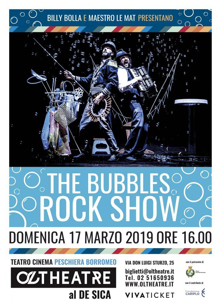 """Immagine coordinata stagione 2018/2019 - Progetto grafico manifesto """"The Bubbles Rock Show"""""""