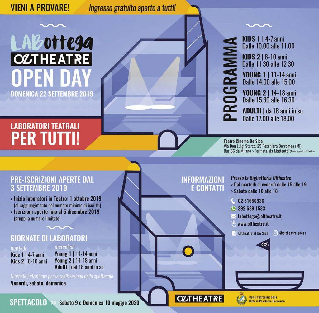 """Immagine coordinata stagione 2019/2020 - Progetto grafico laboratorio teatrale """"La Bottega"""""""